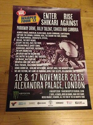 Vans Warped Tour Enter Shikari / Rise Against Gig poster, London - Nov 2013