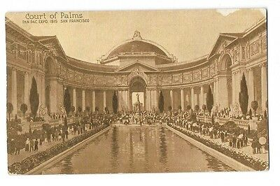 1915 Pan Pacific Expo PPIE Printed Photo Postcard ~ Court of Palms