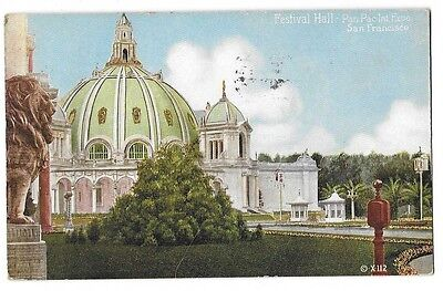 1915 Pan Pacific Expo PPIE Colorized Postcard ~ Festival Hall