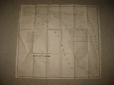 Huge Early Important Antique 1845 Florida Map Pensacola Forts Miami Keys Rare Nr