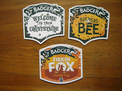 3  Different  Badger  Brewery  Beer  Mats / Coasters  New