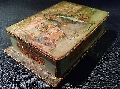 Antique Russia Estonia Tramp Art Folk Art Carved & Painted Wooden Box Hinged Lid
