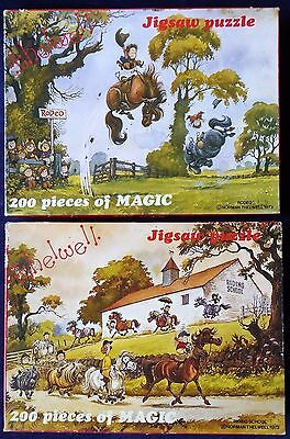 2 vintage Thelwell 200 piece jigsaw puzzles ##RET73BS