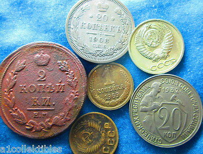 1811- 1990S 6X Russia Empire And Communist Russia Coins     Ab247