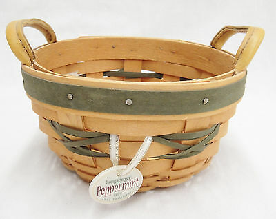 Longaberger 1999 Peppermint Tree Trimming Round Basket and Tie On Christmas