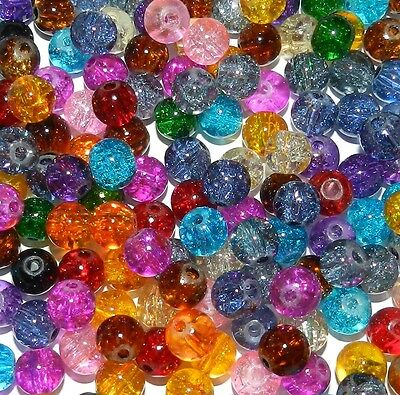 GL3258o Multi-Colored Bright Mix 8mm Round Crackle Glass Beads 100pc