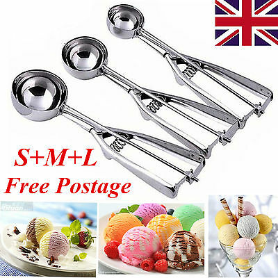 3 x Stainless Steel Scoop Hot for Ice Cream Mash Potato Food Spoon Kitchen Ball