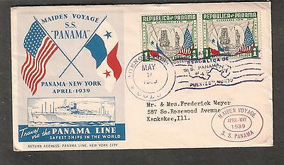 1939 cachet cover Maiden Voyage Line ship SS Panama