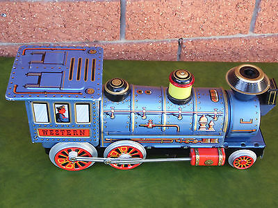 Vintage Japanese 1960's  Modern Toys Western Locomotive Tin Toy Train Works