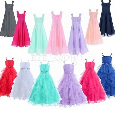 Flower Girl Dress For Birthday-Pageant-Wedding Party Casual/Formal Long Dress D5