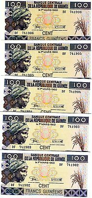 LOT Guinea 5 x 100 Francs, 2015 (2016), P-New, UNC   Resized, new sign, date