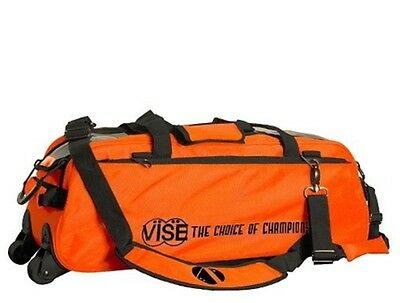 Vise 3 Ball Tote Bowling Bag with tow wheels Color Orange