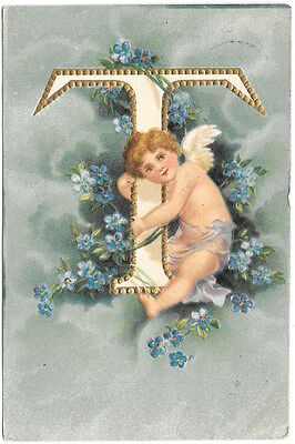 Postcard Large Letter T Cherub Angel and Flowers~96052