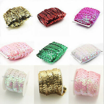 10 Yards Colorful Elastic Lace Stretch Sequin Trims Headband Bridal Sewing Craft