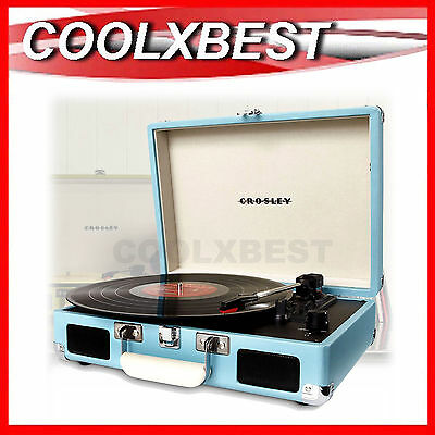 New Crosley Cruiser Retro Turntable Record Player + Bonus Stylus Turquoise Blue