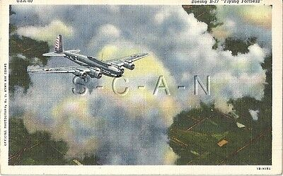 WWII US Army Air Force PC- Airplane- B-17 Bomber- Flying Fortress in The Clouds