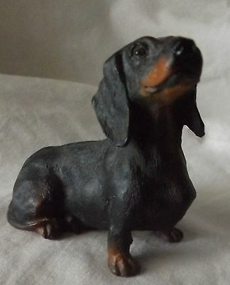 "Vintage Resin Black & Tan Sitting Dachshund Dog Figurine Looking Up 3"" Tall"