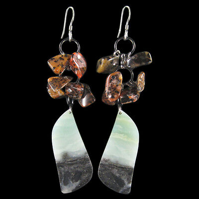 Multi-Color Amazonite Silver Earring BW904067