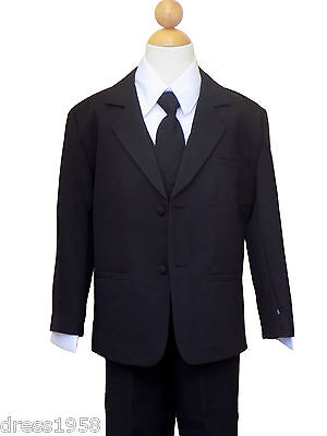 Boys Recital, Ring Bearer Graduation Formal Suit Set, Black, Size: 10