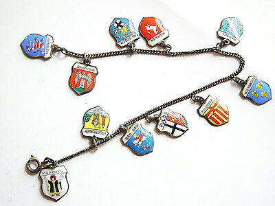 BETTELARMBAND ° SILBER ARMBAND ° 835 800 ° 11 CHARMS - Städte - Wappen -emaille-