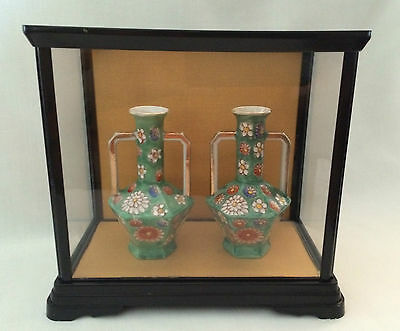 Japanese Vintage Set Of 2 Green Vases With Handles Handpainted With Flowers Rare