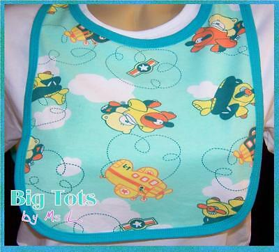 Adult Baby Teddy's in Airplanes dribble bib * Big Tots