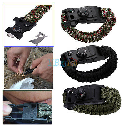 Nylon New Multi Tool Camping EDC Paracord Bracelet W/Screwdriver Bottle Opener