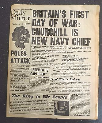 WW2 Wartime Newspaper Daily Mirror September 4 1939 Britain's First Day of War