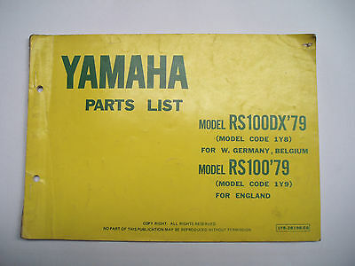 Used Genuine Yamaha RS100DX Parts List '1978 - 79' 1Y8-28198-E6