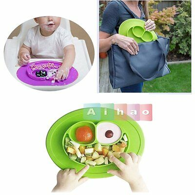 Baby Toddler One-Piece Silicone Placemat+Plate Dish Food Table Mat Kids Bowl New