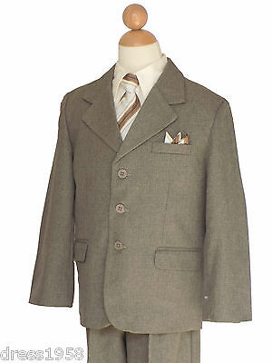BOYS WEDDING, RECITAL, GRADUATION SUIT SET, TAUPE/IVORY, SZ: 5 to 20