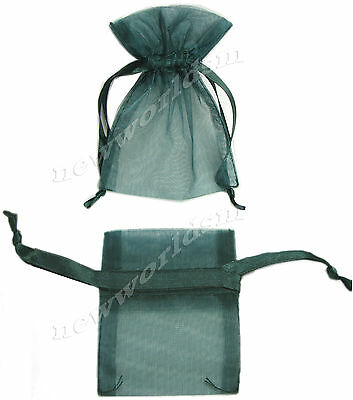 "15pcs 5x6cm 2""x2.5"" Hunter Green Premium Organza Holiday Gift Bags Pouch FREE PP"