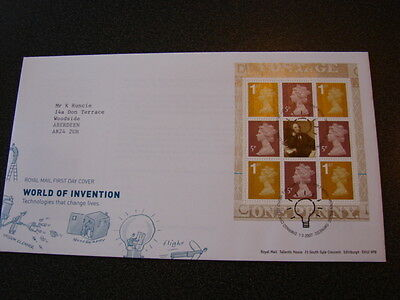 2007 WORLD OF INVENTION Prestige Booklet Pane First Day Cover MENAI BRIDGE PMK