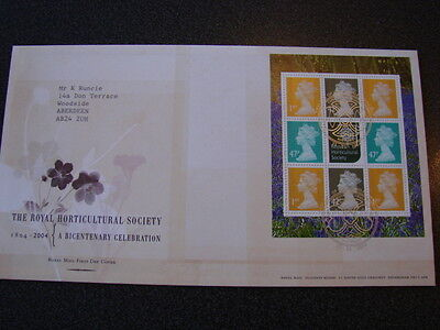 2004 ROYAL HORTICULTURAL SOCIETY Prestige Booklet Pane First Day Cover
