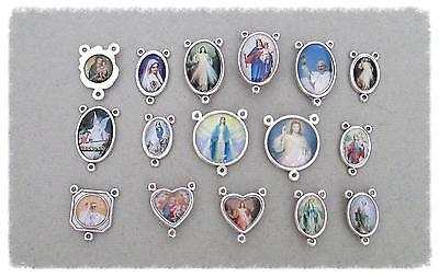 Lot 16 Rosary Centers Centerpieces Make Making Rosaries ITALY Parts SALE Silver