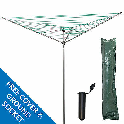 3 Arm 34M Rotary Airer Clothes Dryer Laundry Outdoor Washing Line Ground Socket