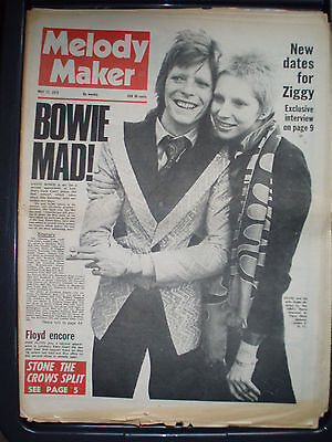 Melody Maker 12th May 1973 Bowie Sweet Stone The Crows Springsteen Roxy Argent