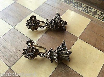 Vintage Silver Cannetille Filigree Ringing Bell Screw Back Earrings