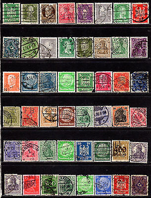 Germany Perfin Lot of Different Design Faces All have some Damage