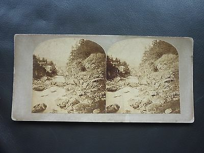 Stereoview Nice Early Image Rocky River Scene Rapids Unknown Location