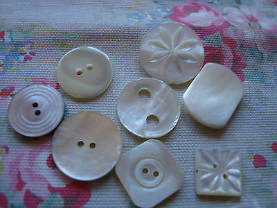8 Vintage  Mother of Pearl Buttons - Mix Shape and Design