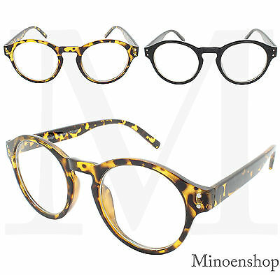 Tortoise Brown Black Round Keyhole Bridge Frame Clear Lens Black Glasses Style
