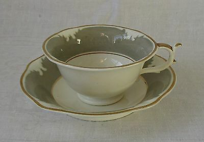 Antique Cup And Saucer Made By Rockingham Works, Brameld  -  C1825 - Puce Mark