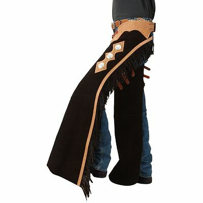 Small Tough 1 Suede Leather Basket Yoke Cutting Show Chaps W/ Fringe Black
