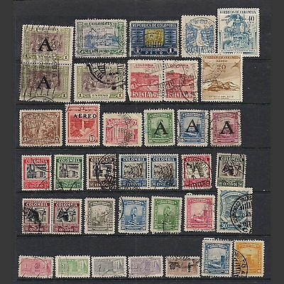 COLOMBIA: lot of thirty-seven stamps -- used --