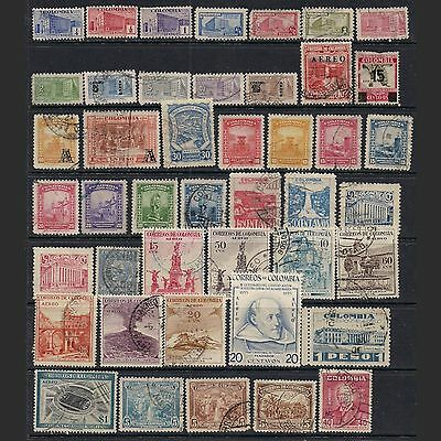 COLOMBIA: lot of forty-four stamps -- used --