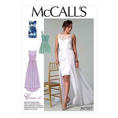 McCALL'S SEWING PATTERN MISSES' WEDDING PROM EVENING DRESSES DRESS 6-22 M7507