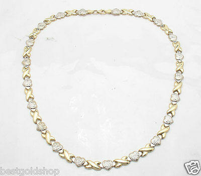 Diamond Cut Hearts & Kisses Chain Necklace Real 10K Yellow White Gold 10.60gr