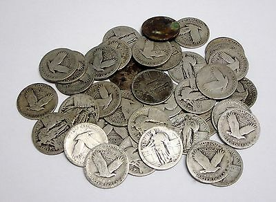 Lot of 40 Circulated, Silver, Standing Liberty Quarters Without Dates
