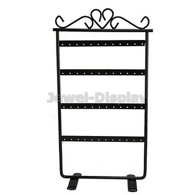 Black 48 Earring Metal Retail Display Stand Jewellery Holder 15.3x30cm